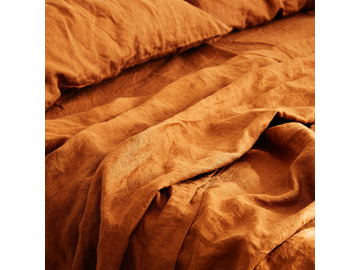 French linen flat sheet in Ochre