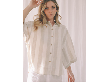 Ruby Shirt in Milk and Natural Thick Stripe