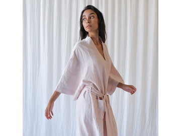 French Linen Robe in Blush