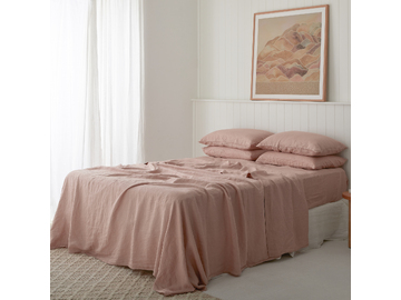 French linen flat sheet in Clay