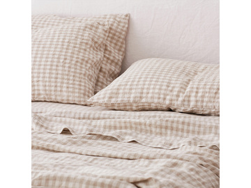 French linen flat sheet in Beige Gingham