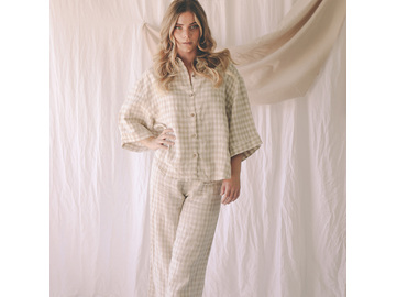 Ruby Lounge Set in Beige Gingham